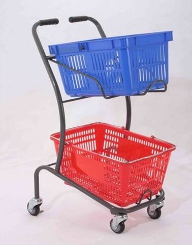 50KGS Shopping Basket Trolley Japanese Style Zinc Plating Metal Double Basket  Hand Push