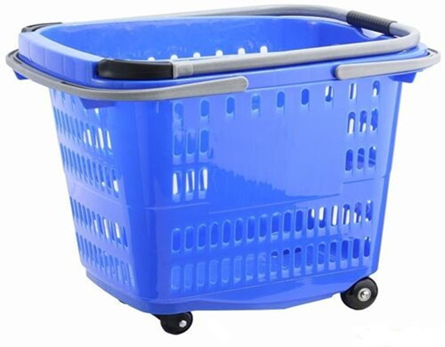 Big Shopping Basket With Wheels / Plastic Rolling Cart With Handle Aluminum Alloy