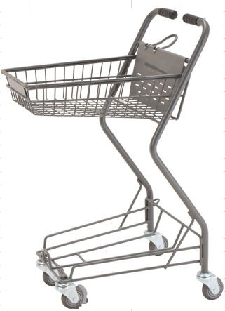 Personal Shopping Carts Plastic Back Panel Swivel Wheels Shop Basket