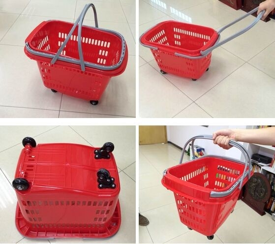 Red HDPP Shopping Basket With Wheels , Supermarket Plastic Storage Shopping Basket