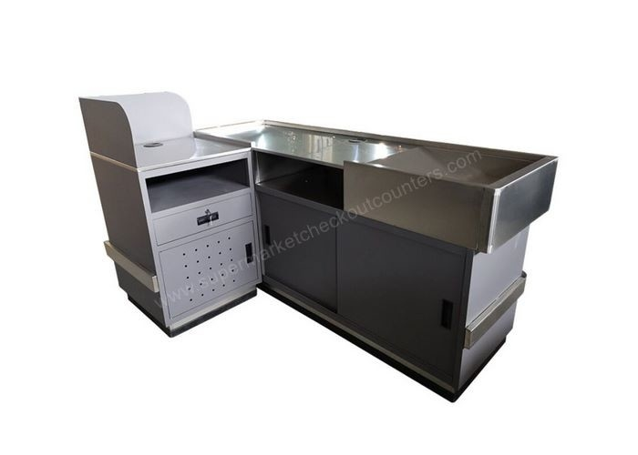 Left Or Right Sided Shop Checkout Counter / Stainless Steel Cash Register Table